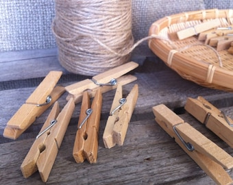 Soviet Vintage Wooden Clothespins with Spring, Wooden Laundry Clips, Set of 10,  Primitive Laundry, Rustic Decor.