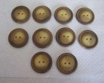 10 piece jackets/coat buttons Brown, diameter ca. 27 mm, new, Lübeck button Manufactory