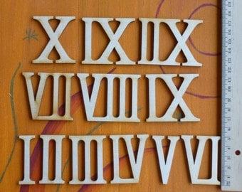 Wooden roman numerals / numerics 50 mm high for handicrafts