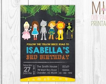 Wizard of Oz Birthday Party Invitation,Wizard of Oz Invitation, Wizard of Oz Party, Wizard of Oz Birthday, Wizard of Oz Invite,Wizard of Oz