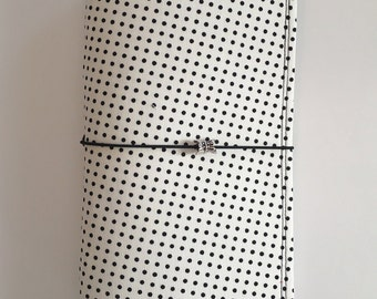 Cream w/Black Polka Dots Fabric Fauxdori, Midori-style, Traveler's Notebook, Leahdori