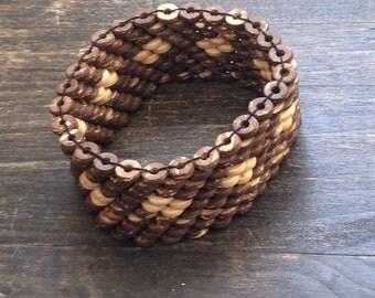 Wood Bracelet, beaded, vintage, 1970's bracelet, bown, wood, fashion jewellery