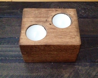 Reclaimed wood candle holder