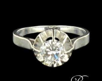 Solitaire diamond 0.80 carat white gold 18K Vintage