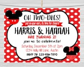 MICKEY AND MINNIE - Mickey and Minnie Invitation, Mickey Mouse Party, Minnie invitation, Sibling Invitation, Twins or Siblings