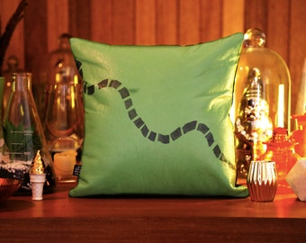 Lime Green Leather and Denim Cushion