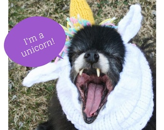 Unicorn Hat for Dogs, costume, dress up, hand knit