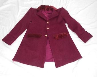 Bilbo Baggins-Inspired. Bespoke Burgundy Wool and Velvet Jacket. Cosplay. Willy Wonka Coat.