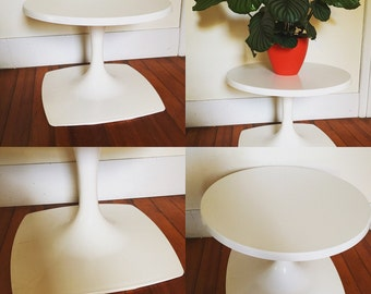 Midcentury Modern White Werzalit Coffee or End Table