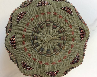 Ruby Twinkle by Twisted Spokes : Hand Woven Basket, Twined Basket, Waxed Linen, Handwoven