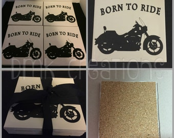 Motorcycle Born To Ride Tile Coasters, motorcycle, drink coasters, coasters, biker, bike, born to ride, Father's day gift, tile coaster set