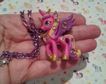 "ONLY 1 AVAILABLE! Sweet Pink/Purple Unicorn, Pony Necklace on 16"" Purple Chain, Fairy Kei, Magical Girl"