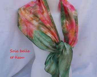 Painted on silk green red scarf model abstract