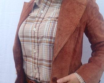 Vintage fitted brown suede coat - suede coat - Benchmark suede coat