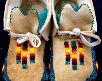 Partial cut beaded moccasins