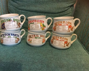 Six vintage soup bowls from around the 70's