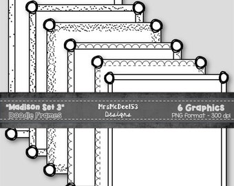 6 Scrappy Border Clipart Frames - Vector Graphics - {Madison Set 3}