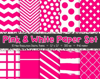 Pink and White Digital Paper Set - Digital Paper - Scrapbooking Paper - Chevron, Polka Dot, Stripes, Trefoil – 10 Graphics