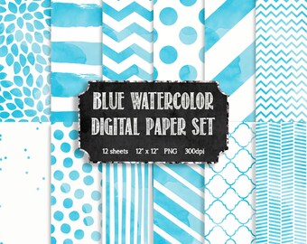 Blue and White Watercolor Digital Paper Set - Modern Digital Paper - Scrapbooking Paper - Watercolor Digital Paper - INSTANT DOWNLOAD