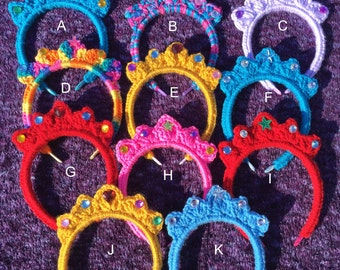 Girls crochet Tiara with rhinestones.