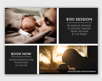 Father's Day Mini Session Template - Booking Ad - Photography Marketing Board - Photoshop template - INSTANT DOWNLOAD