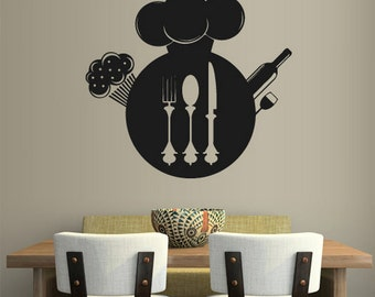 rvz1969 Wall Vinyl Sticker Kitchen Decal Fork Knife Spoon Wine Poster