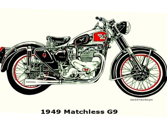 Print of Original 1949 Matchless G9 Matchless Drawing