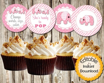Editable Cupcake Toppers, Baby Shower, Birthday, Pink Elephant, Girl, Tags, Labels, DIY, PDF, Instant Download, Round 2.5""