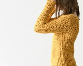 Mustard sweater,  Wool sweater,  Hand knit sweater,  Chunky knit sweater,  Alpaca sweater,  Winter knitwear, Unisex pullovers  Comfy sweater