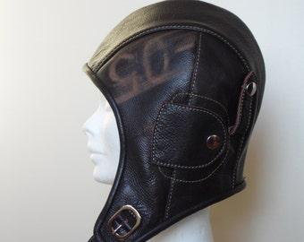 leather aviator hat , dieselpunk hat, bomber hat