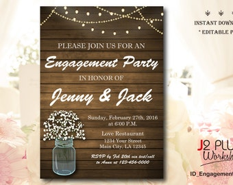 INSTANT DOWNLOAD Rustic Light Bulb Floral Mason Jar Engagement Party Invitation Printable, Invites Template Instant Download, Editable pdf