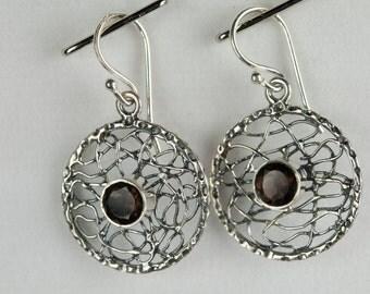 B001-007-001 Handmade Sterling Silver Hoop Earrings Wine Red Garnet January Birthstone