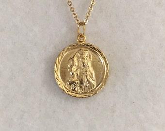 Saint Anne, St Anne gold pendant, religious medal, religious pendant, St Anne de Beaupre Basilica, Patron Saint