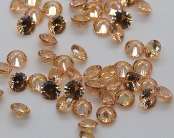 5mm Round Champagne Color Cubic Zirconia, Loose Stones, Jewelry DIY.