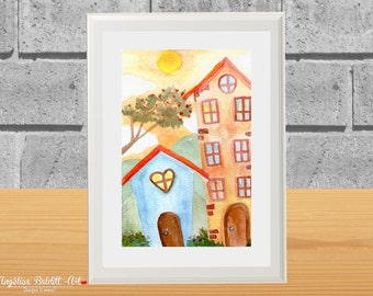 "Watercolor Print ""Dos casas"" Print of the original in watercolor by me, Angelica Baldit"