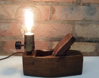 Vintage wood plane desk lamp with edison filament bulb - bespoke - one off