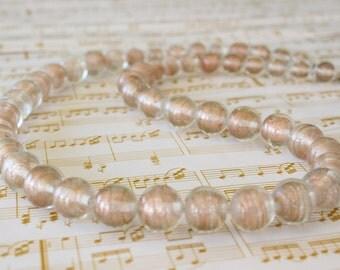 Vintage Aventurine Stripe Glass Bead Necklace