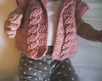 Crochet baby sweater short sleeve