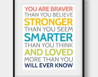 50% OFF You Are Braver Than You Believe Print, Winnie The Pooh Quote, Kids Room Decor, Scandinavian Kids, Winnie The Pooh Printable Art