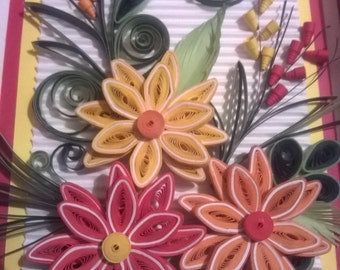Floral fiesta quilling handmade wall decor gentle piece for quilled birthday card greeting quilling handmade card i love you card birthday card m4hsunfo
