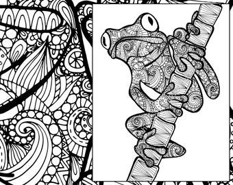 frog coloring sheet, animal coloring pdf, zentangle adult colouring page, zentangle animal coloring, animal sketch pdf, grown up coloring