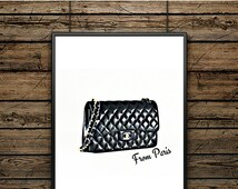 """Poster Bag """"Chanel from Paris"""" - Scandinavian Style - Wall decoration - typographic design - Black and White Printing - Premium Gift"""