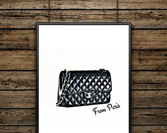 "Poster Bag ""Chanel from Paris"" - Scandinavian Style - Wall decoration - typographic design - Black and White Printing - Premium Gift"