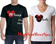 Mickey and Minnie couple shirts, Mickey Minnie Glitter Bow T-Shirt, Disney Family Shirts, Family Disney Shirts, Disney Shirts
