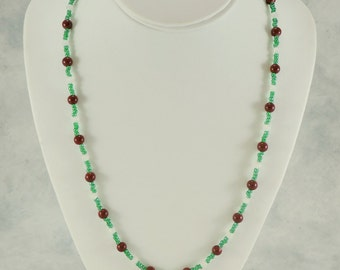 Burgundy, Green and White Necklace