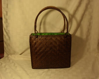 Vintage Basket Weave Women's Rattan Hand Bag Fabric Lined