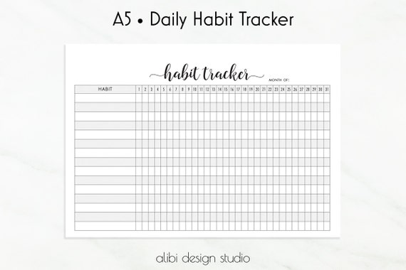 A5 Planner Inserts • Daily Habits Printable • Monthly Planner ...
