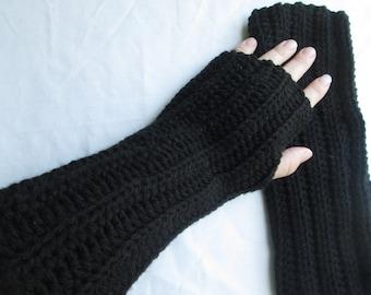 black arm warmers, fingerless gloves, wrist warmers, crochet and knit, tween and teen, women's accessories