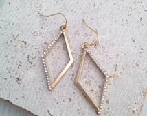 Diamond Shape Earring,Geo Earring,Cubic Earring,Diamond Dangle,Boho Earring,Tribal Earring,Diamond Drop Earring,Gold Diamond Earring