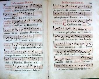 "Antiphonal Music Sheets ""Antiphonarium Meldense"" by Cardinal DD Henrici de Thayard de Bissy 11"" X 16.5"""